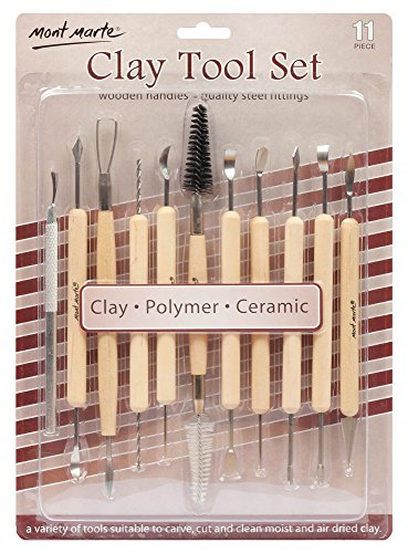 Mont Marte Clay Tool Set, 11 Piece. Selection of Clay Tools to Create Texture, Smooth, Cut and Carve Clay. Suitable for Use with Polymer, Earthenware and Air Dry Clay.