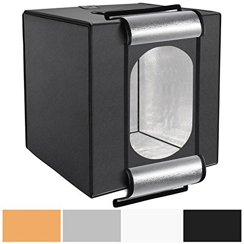 Neewer 16 x 16 inches/40 x 40 centimeters Studio-in-a-Box Shooting Tent with Integrated LED Light, 4 PVC Background Paper(Black, White, Orange, Gray) and Carrying Case for Table Top Photography by Neewer