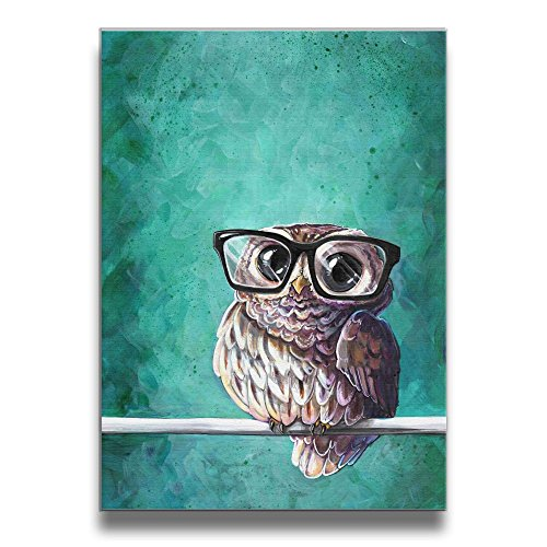 - Martoo Art Owl with Glasses Animal Canvas Wall Art Digital Painting Prints with Frame Ready To Hang Modern Picture for Kid's Room Home Wall Decoration Framed Pictures for Babys Children Rooms Bedroom