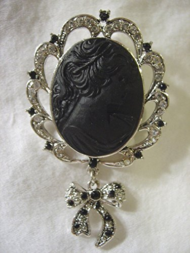 Brooch Dangling Crystal (CRYSTAL Black CAMEO Dangling Bow Large Fancy PIN BROOCH SCARF CLIPSCORSAGE JEWELRY FOR WOMAN Silver Metal)