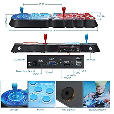 [3003 Games in 1] Retro Video Arcade Games Console CPU Full HD 4 Players Support HDMI USB Multi-Color LED Backlight Double Rocker Parent-Child Interactive Game Machine 29.1310 2.95In,A: Sports & Outdoors