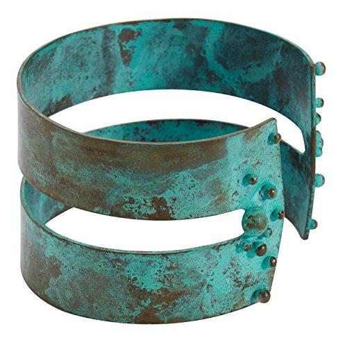 Bronzed Cuff - FLORIANA Bauhaus Cuff Bracelet - 1 1/2 Wide Brass with Verdigris Bronzed Patina