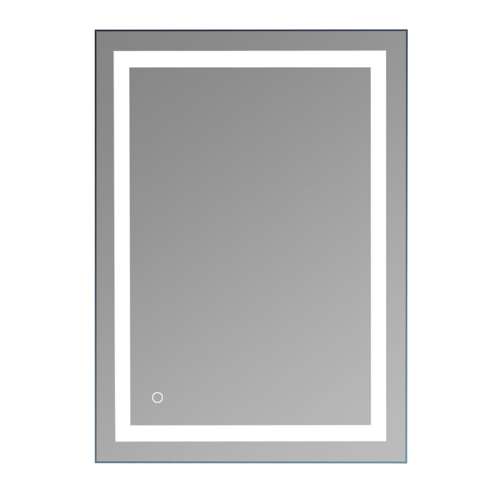 36''x 28'' Square Built-in LED Light Strip Touch Switch Bathroom Mirror Silver by Candora