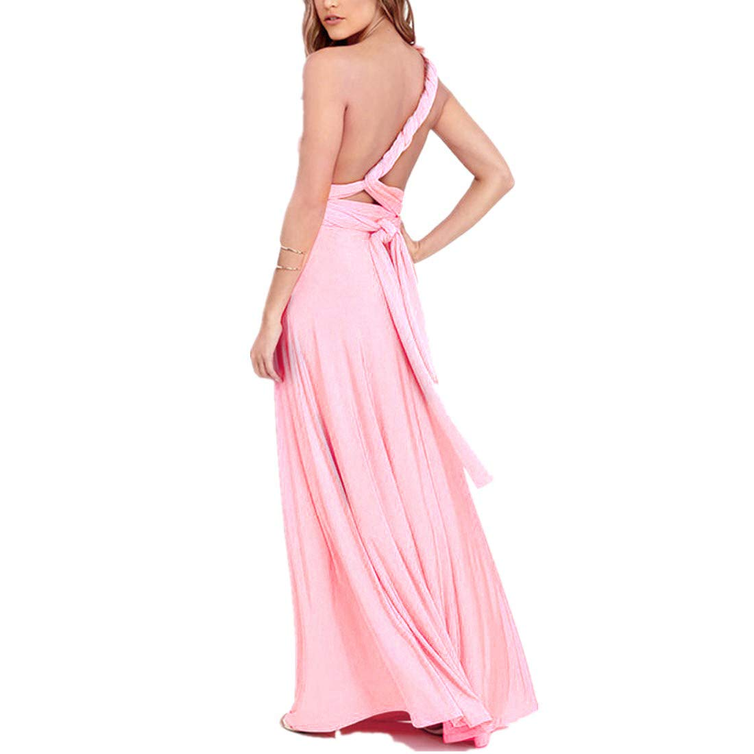 FYMNSI Vestido de Mujer Dama de Honor de la Boda Convertible de M/últiples V/ías V-Cuello Sin Mangas Maxi Largo de Boho Noche Ceremonia Vestidos de C/óctel Elegante Verano Multiway Dress