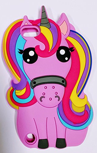 Bukit Cell Bundle - 3 Items: Bukit Cell Purple 3D Lovely Unicorn Horse Silicone Cute Lovely Fun Case for Ipod touch 5 / 6, Screen Protector and Bukit Cell Metallic Stylus Touch Pen For Girls