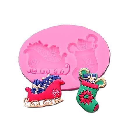 Lazeny Navidad Silicona Formas Molde calcetín de Navidad Trineo ...