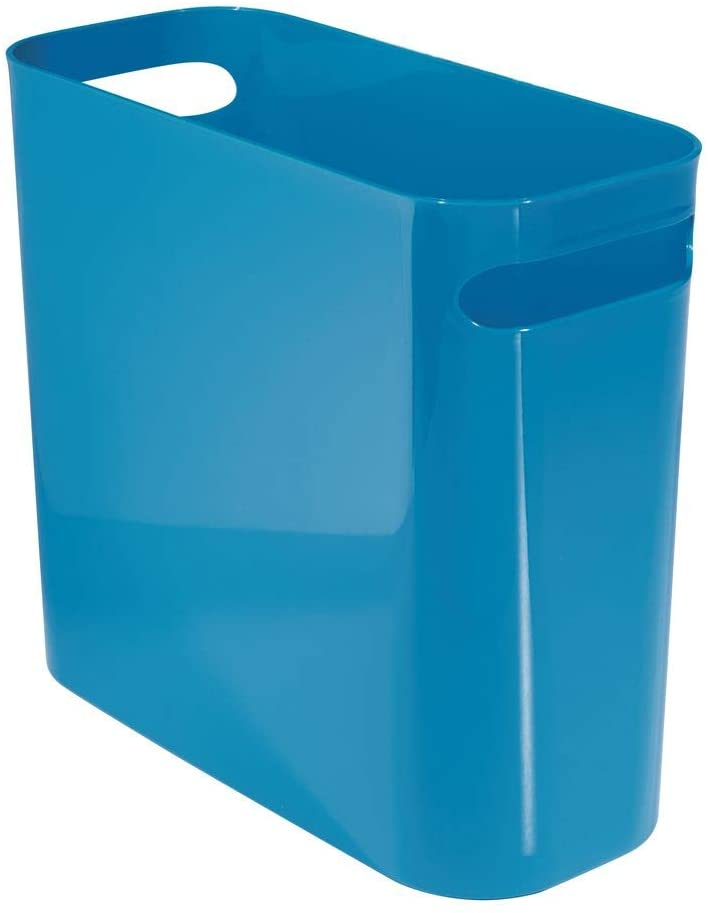 "mDesign Slim Plastic Rectangular Small Trash Can Wastebasket, Garbage Container Bin with Handles for Bathroom, Kitchen, Home Office, Dorm, Kids Room - 10"" High, Shatter-Resistant - Blue"