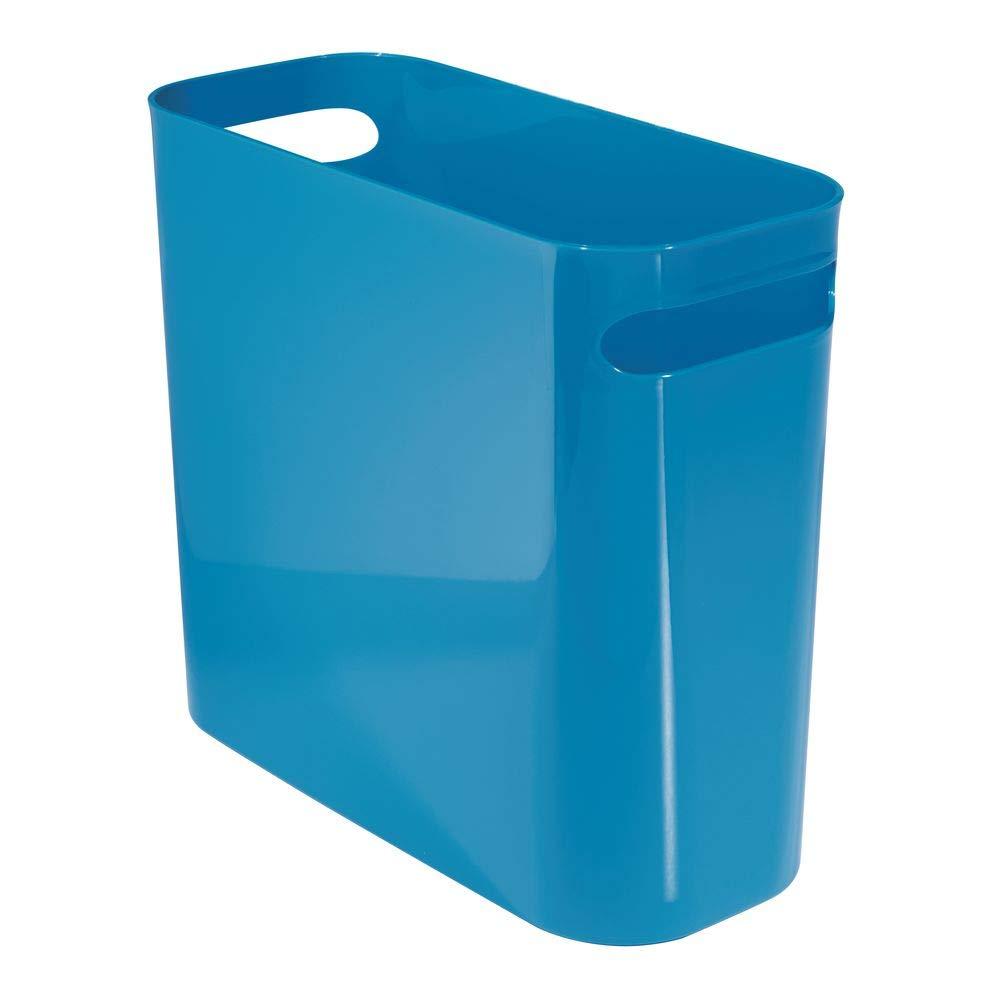 mDesign Slim Plastic Rectangular Small Trash Can Wastebasket, Garbage Container Bin with Handles for Bathroom, Kitchen, Home Office, Dorm, Kids Room – 10″ High, Shatter-Resistant – Black