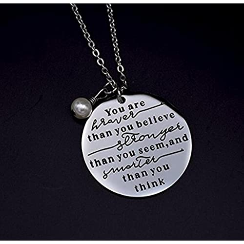 Blerameng Always Remember You Are Braver Than You Believe Jewelry Stainless Steel Necklace