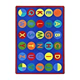 Joy Carpets Kid Essentials Early Childhood Alpha-Dots Rug, Multicolored, 7'8'' x 10'9''