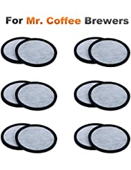 12-Pack of Mr. Coffee Compatible Water Filter Discs - Universal Fit Mr Coffee Compatible Filters - Replacement Charcoal Water Filter Discs for Mr Coffee Coffee Brewers - Better Than OEM!