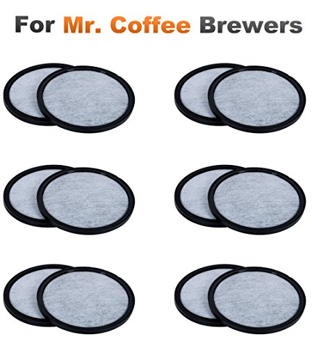 K&J 12-Pack of Mr. Coffee Compatible Water Filter Discs - Universal Fit Mr Coffee Compatible Filters - Replacement Charcoal Water Filter Discs for Mr Coffee Coffee Brewers - Better Than OEM! -