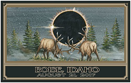 Eclipse Boise Idaho Giclee Travel Art Poster by Artist 30 x 44 inch) Art Print for Bedroom, Family Room, Kitchen, Dorm Room or Office Wall - Teton Mall Falls Idaho