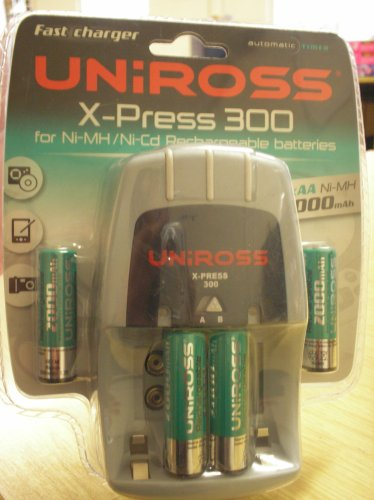Uniross x-press 300 battery charger inc 6 x aa 2300 mah: amazon. Co.