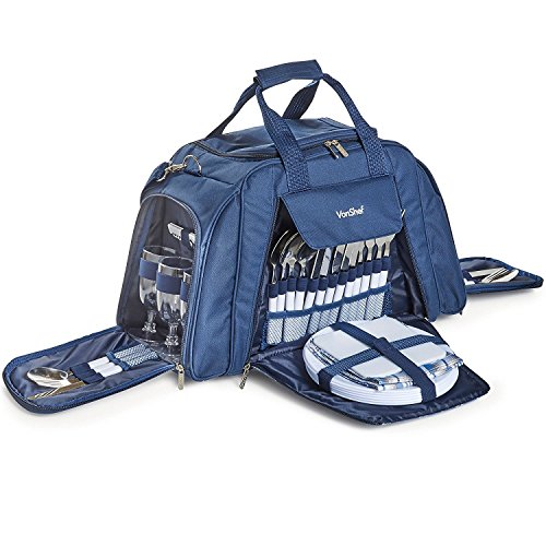 VonShef-6-Person-Holdall-Picnic-Bag-with-Cooler-Compartment--Includes-Plates-Cutlery-Glasses-Tableware--Navy-Tartan