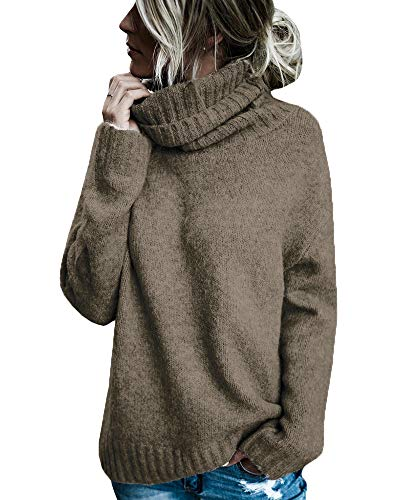 Karlywindow Womens Long Sleeve Turtleneck Sweaters Fleece Knitted Chunky Loose Cozy Pullover Coffee