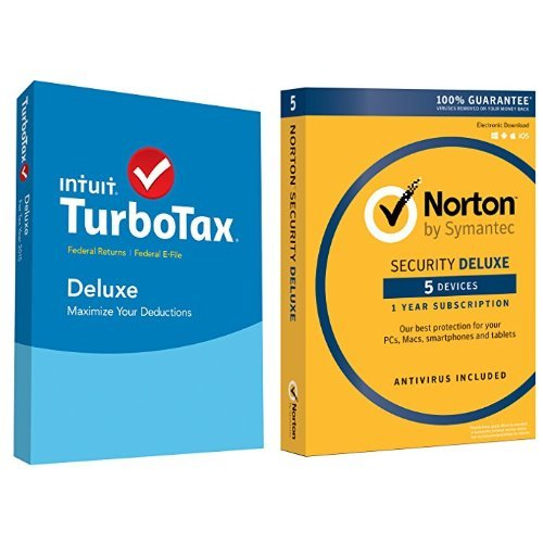 TurboTax Deluxe 2015 Federal + Fed Efile Tax Preparation Software - PC/Mac Disc with Norton Security Deluxe - 5 Devices