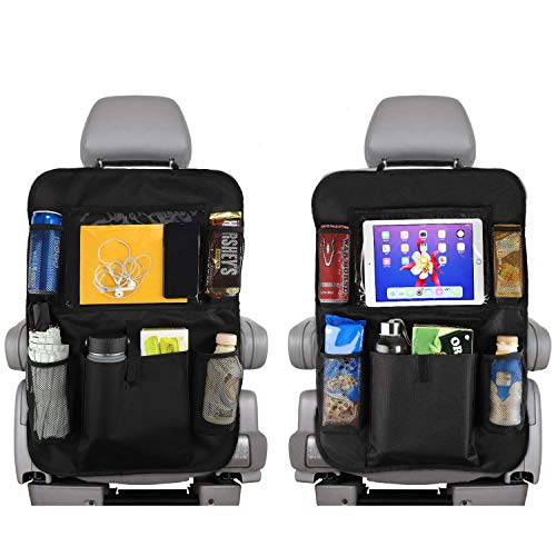 Reserwa Car Backseat Organizer 2 Pack Waterproof and Durable Car Seat Organizer Kick Mats Muti-Pocket Back Seat Storage Bag with Touch Screen Tablet Holder to Organize Toy iPad Bottle Snacks -