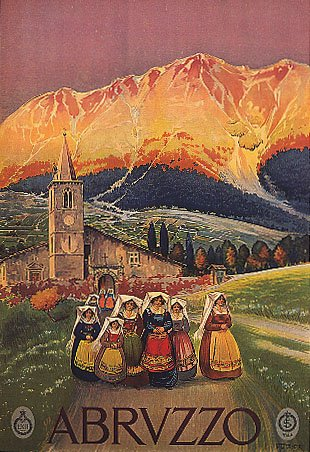 ABRUZZO APENNINE MOUNTAINS WOMEN IN TRADITIONAL COUSTUME CHURCH ITALY LARGE VINTAGE POSTER REPRO