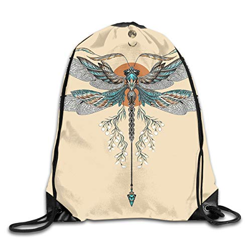 (Drawstring Bag Cute Animal Wings Dragon Fly Tattoo Backpack Draw Cord Bag Sackpack Large Lightweight Gym Hiking Swimming)