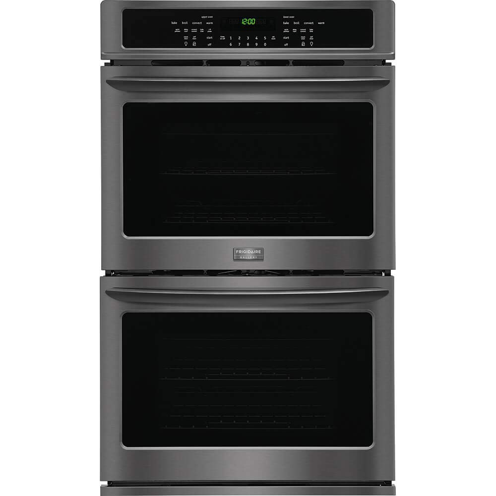 """Frigidaire 2-Piece Kitchen Package With FGGC3047QB 30"""" Gas Cooktop and FGET3065PD 30"""" Electric Double Wall Oven in Black"""