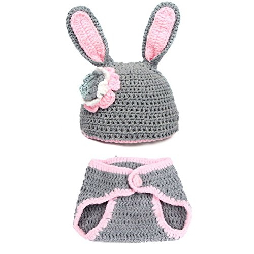 ZAMME New Born Baby Infant Crochet Knitted Rabbit Costume Photograph (New Years Baby Costumes)