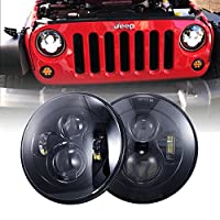 DOT Approved 90W 7 inch Round Cree LED Headlight High Low Beam for Jeep Wrangler 97-2017 JK TJ LJ 2 PCS Black