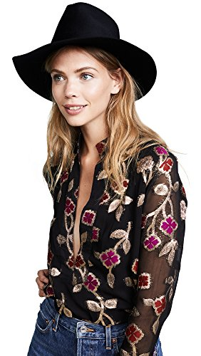 Janessa Leone Women's Sean Fedora Hat, Black, Small by Janessa Leone