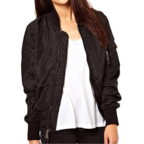 Blouson Courte Manteaux Up Hiver Zip Minetom Femme Bomber Classique Vintage Veste Noir Biker Coat xYZZIqn