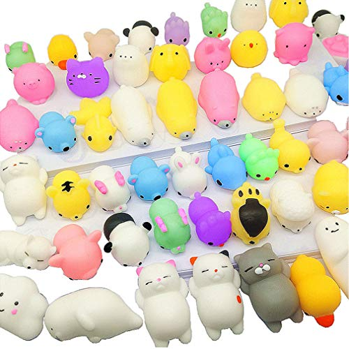Qvatox 40 Pack Mochi Animals Squishies Kawaii Mochi Animals Squishies Squeeze Stress Toys Mini Soft Stretchy Squeeze Toys Mini Rising Panda Seal Polar Bear Fox Rabbit Cat -
