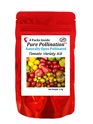 Tomato Seed Pack (Pure Pollination 8 Tomato Variety Seed Pack Heirloom Garden Open Pollinated Non-GMO)
