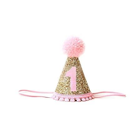 Ruiting Corona Bebé Cumpleaños Banda de Pelo del Sombrero del Brillo Venda del bebé Accesorios Baby Shower Primera Fiesta de cumpleaños Rosa