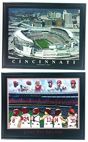 (Cincinnati Reds Little Red Machine Framed Lithograph and Great American BallPark Framed Aerial Photo Framed Set of 2 LL6007 )