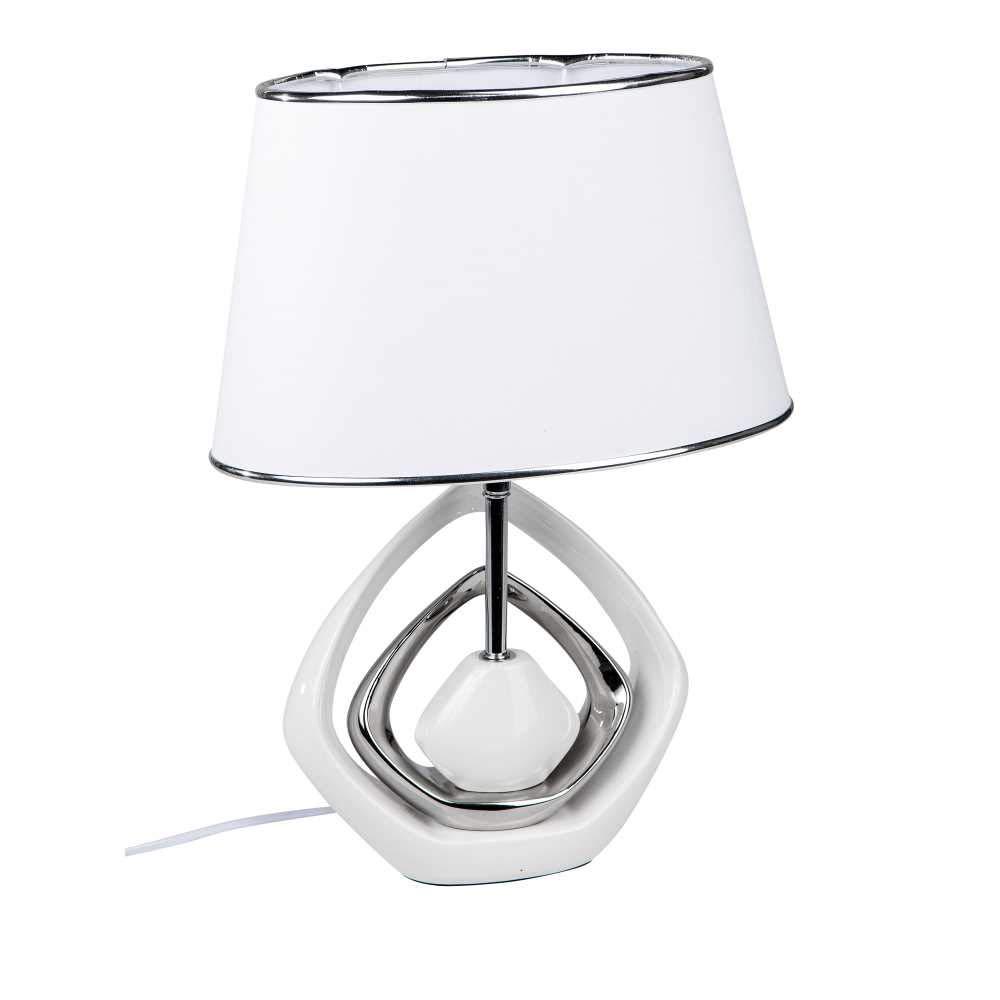 Tischlampe, Leuchte KARO H. 46cm weiß silber Keramik Formano