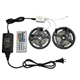 FSJEE 5050 RGB LED Strip Light Kit,32.8ft 300 LEDs Rope Lights 30LEDs/M Non-Waterproof Flexible Strip Light Kit with 44key IR Remote Controller DC12V Power Supply for Kitchen/Bedroom/Sitting Room