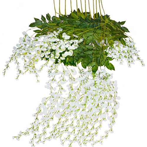 Mavee 12 Piece 3.6 Feet Artificial Silk Wisteria Vine Ratta Hanging Flower for Wedding Décor (white)