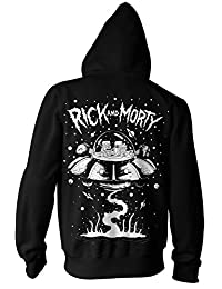 Rick and Morty Spaceship Adult Zip-Up Hoodie Sweatshirt (Large, Black)
