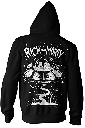 Ripple Junction Rick and Morty Spaceship Adult Zip-Up Hoodie Sweatshirt