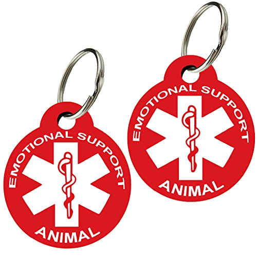 CNATTAGS ESA - Pet ID Tags, Various Shapes and Colors, Doubled Sided Emotional Support Animal, Premium Aluminum (Set of 2) (Round, Red) ()