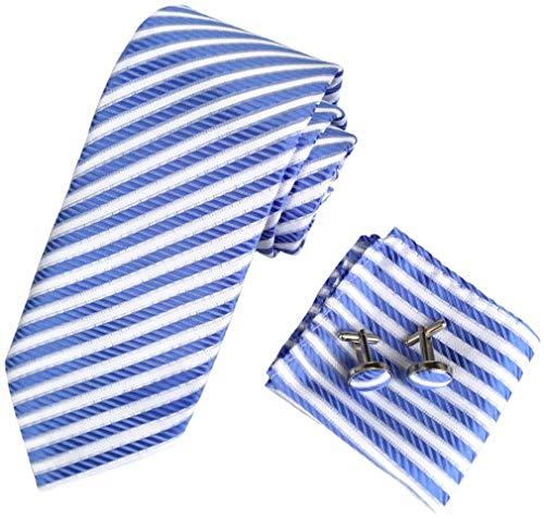 (Men's Classic Stripe Woven Tie Formal Party Suit Necktie Pocket Square Cufflinks Handkerchief Set (White & Blue))