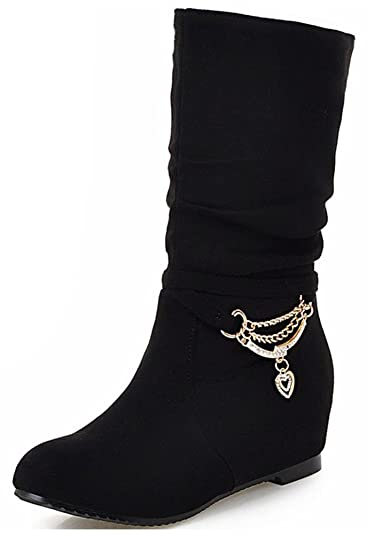 Women's Adorable Faux Suede Rhinestone Round Toe Low Hidden Wedge Heel Pull on Slouchy Mid Calf Boots