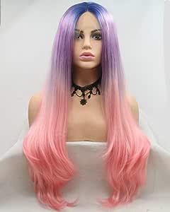 Zafiro azul raíces ombre lila púrpura/pastel rosa frente del cordón peluca amistosa larga onda sintética pelo señoras Cosplay pelucas para las mujeres festival viajes fiesta: Amazon.es: Belleza