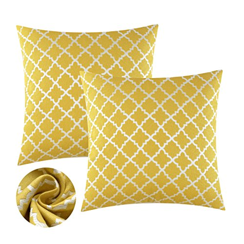 Yellow Throw Pillows Covers Set, [2 Pack] Keynotes Soft Accent Home Decorative Cushions Covers, Square Geometric Mustard Cotton Throw Pillow Cases Shams with Zipper for Couch Sofa Bed Chair,20x20 inch (Diamond Sofa Accent)