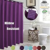 Purple Shower Curtain ROYACOR Fabric Shower Curtain with 12 Polyresin Hooks, Water-Repellent Rustproof Resistant, 72x72 Non Toxic 100% Durable Polyester Shower Curtain Liner, Machine Washable,Easy to Install-Purple