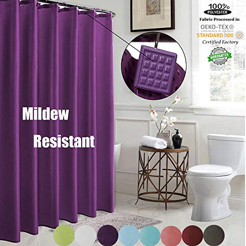 ROYACOR Fabric Shower Curtain with 12 Polyresin Hooks, Water-Repellent Rustproof Bath Curtain, 72x72 Non Toxic 100% Durable Polyester Shower Curtain Liner, Machine Washable,Easy to Install-Purple