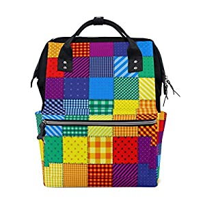 Ahomy Baby Changing Bag Backpack, Rainbow Colored Square Geometric with Diagonal Mummy Nappy Diaper Bag Baby Travel…