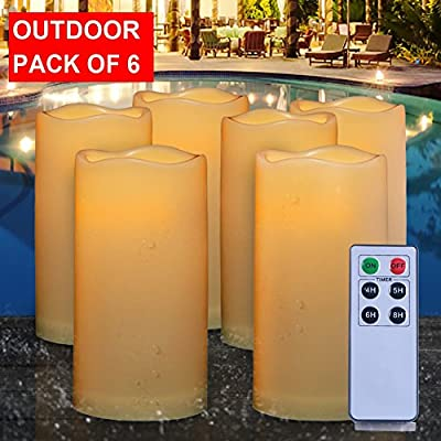 AMAGIC Waterproof Flameless Candles Battery Operated Pillar Candles with Remote and Timers