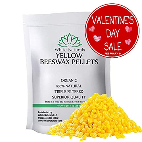 WHITE NATURALS Organic Yellow Beeswax Pellets, 1 lb