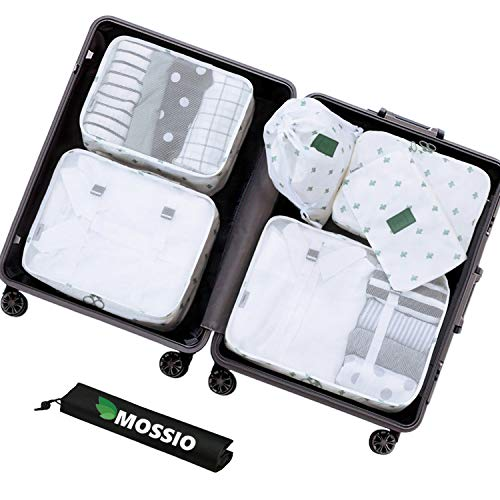 Suitcase Cubes,Mossio 7 Set Packing Cubes Fashion Tote Purse Organizer White Cactus