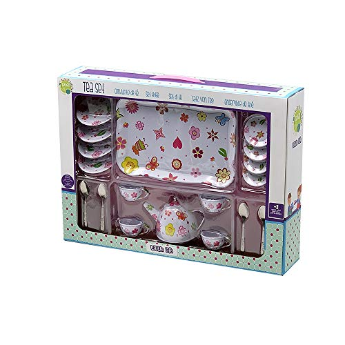 Tachan - Juego de Te Rosa con Bandeja de Acero con 19 piezas (78055519)